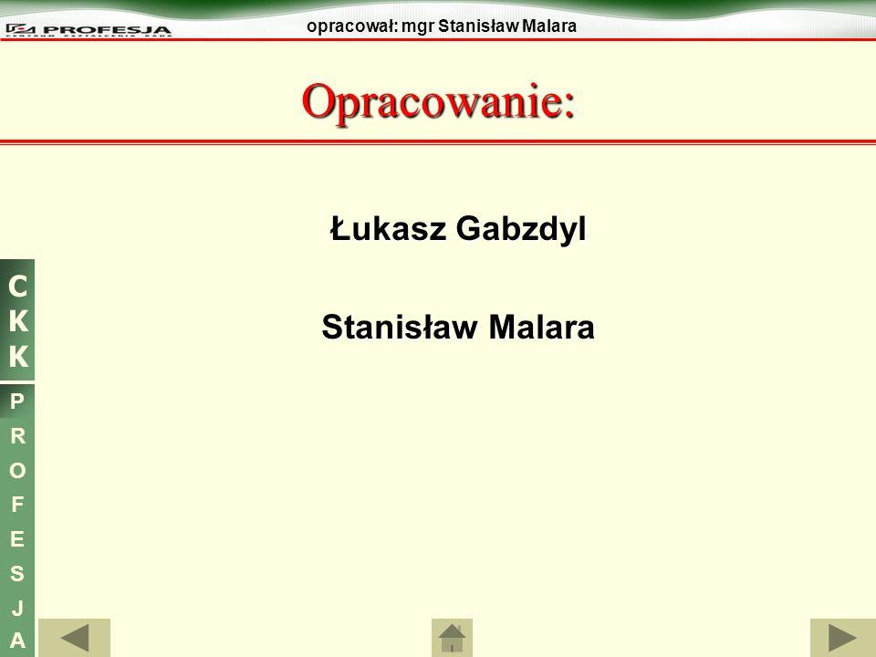 CKKCKK P R O F E S J A opracował: mgr Stanisław Malara Łukasz Gabzdyl Stanisław Malara Opracowanie: