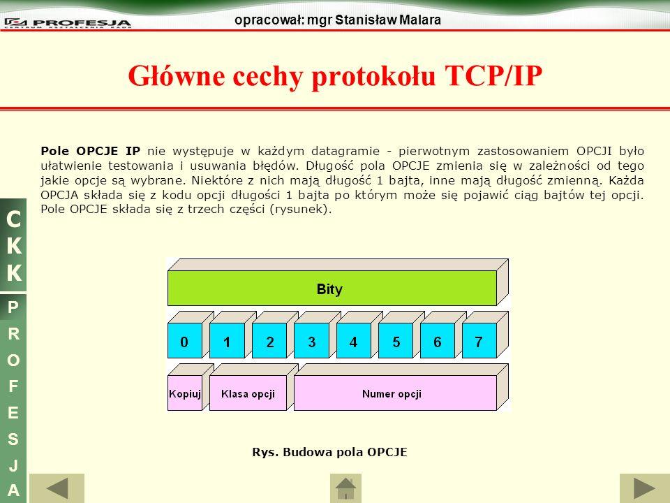 CKKCKK P R O F E S J A opracował: mgr Stanisław Malara Główne cechy protokołu TCP/IP Pole OPCJE IP nie występuje w każdym datagramie - pierwotnym zast