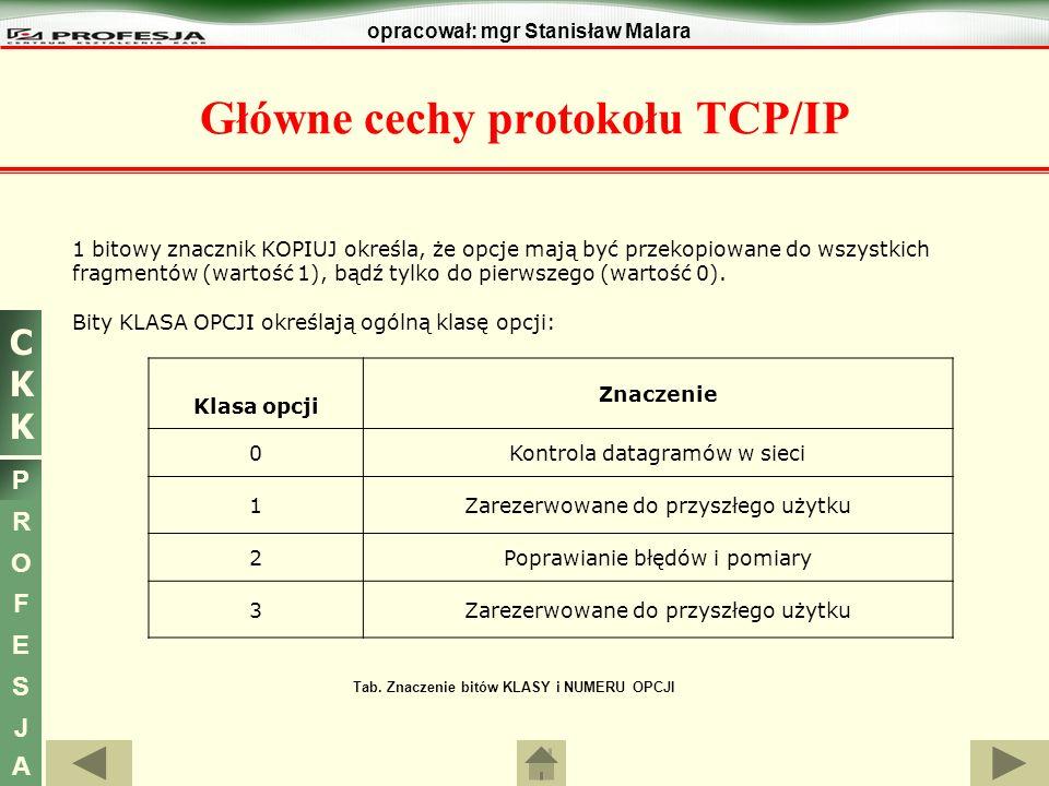 CKKCKK P R O F E S J A opracował: mgr Stanisław Malara Główne cechy protokołu TCP/IP 1 bitowy znacznik KOPIUJ określa, że opcje mają być przekopiowane