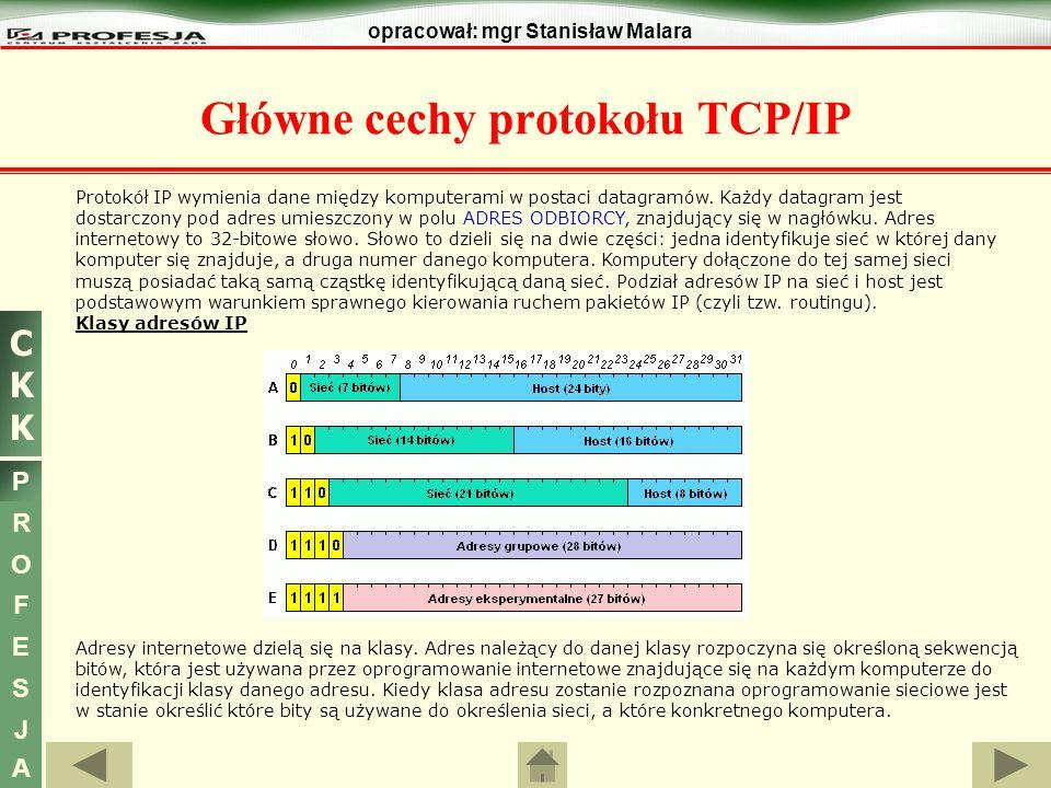 CKKCKK P R O F E S J A opracował: mgr Stanisław Malara Główne cechy protokołu TCP/IP Protokół IP wymienia dane między komputerami w postaci datagramów