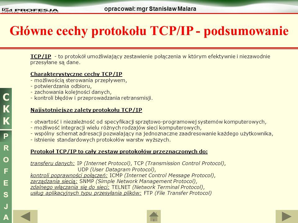 CKKCKK P R O F E S J A opracował: mgr Stanisław Malara Główne cechy protokołu TCP/IP - podsumowanie TCP/IP - to protokół umożliwiający zestawienie poł