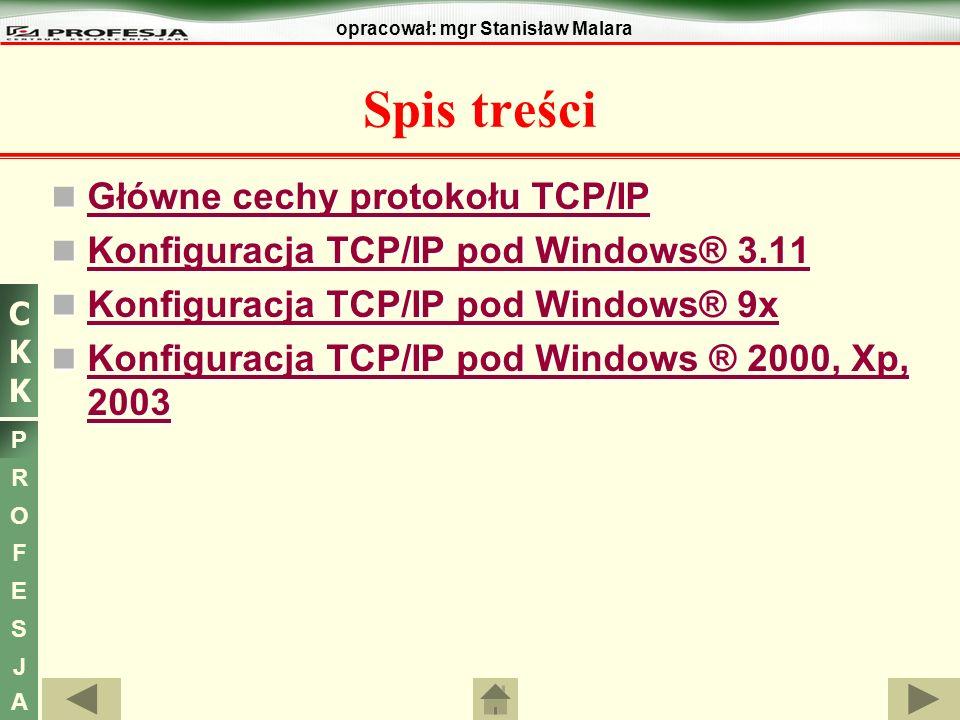 CKKCKK P R O F E S J A opracował: mgr Stanisław Malara Główne cechy protokołu TCP/IP TCP/IP