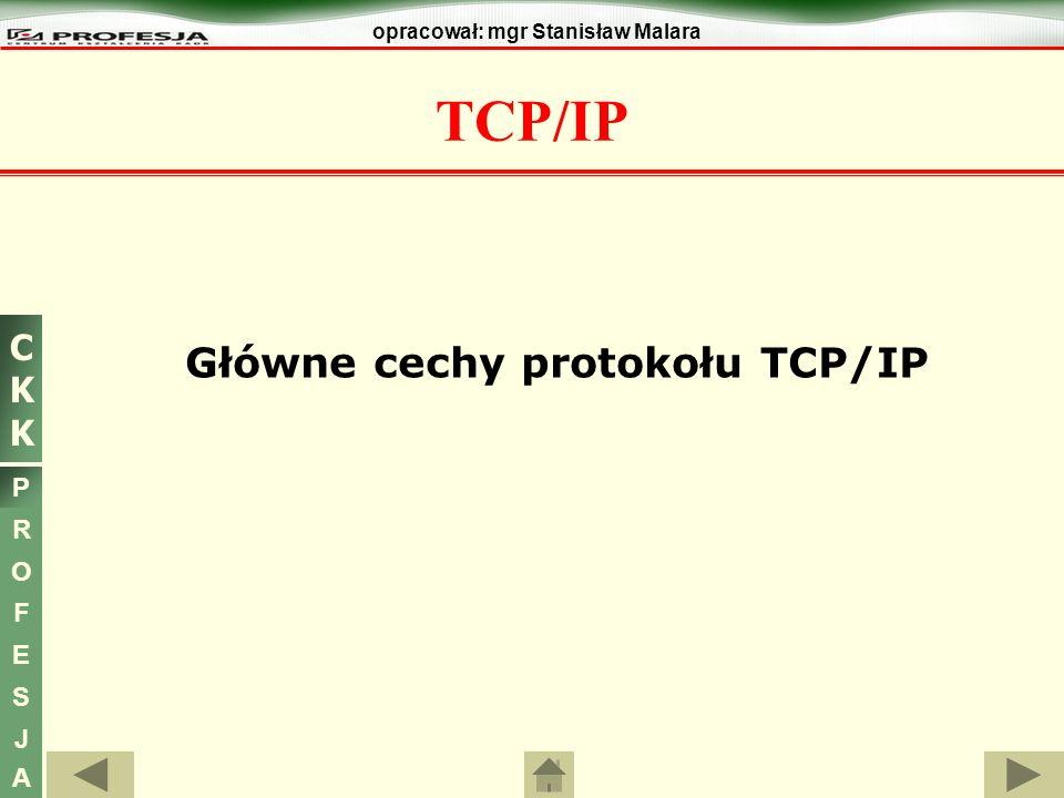 CKKCKK P R O F E S J A opracował: mgr Stanisław Malara Główne cechy protokołu TCP/IP - rezerwacja Adresy zarezerwowane Nie wszystkie adresy sieci i komputerów są dostępne dla użytkowników.