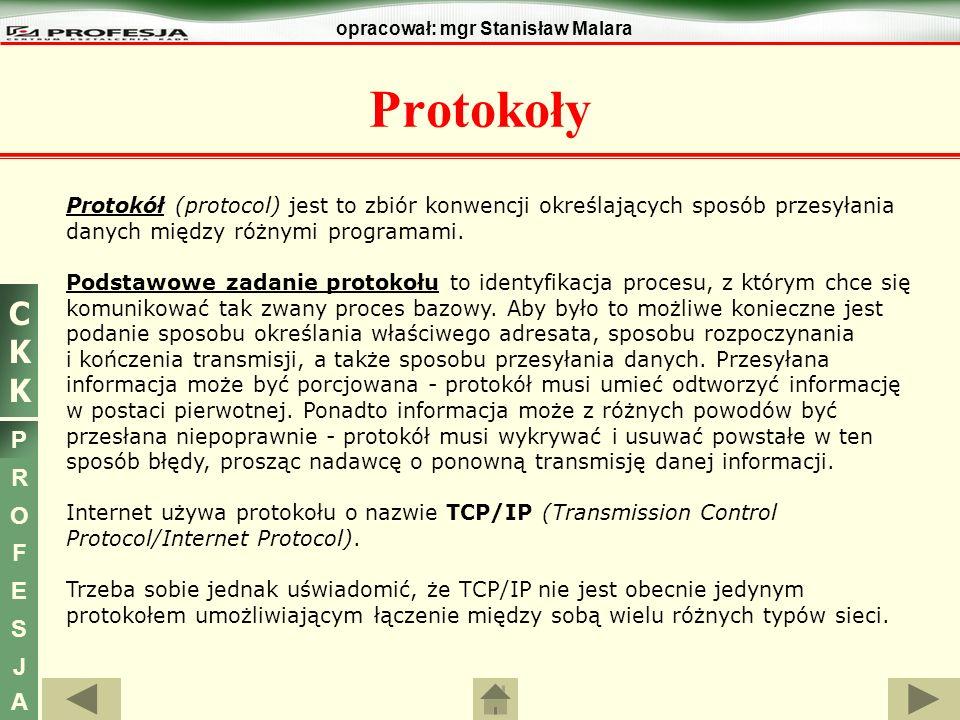 CKKCKK P R O F E S J A opracował: mgr Stanisław Malara Do najistotniejszych zalet protokołów TCP/IP można zaliczyć: otwartość i niezależność od specyfikacji sprzętowo-programowej systemów komputerowych, możliwość integracji wielu różnych rodzajów sieci komputerowych, wspólny schemat adresacji pozwalający na jednoznaczne zaadresowanie każdego użytkownika, istnienie standardowych protokołów warstw wyższych.