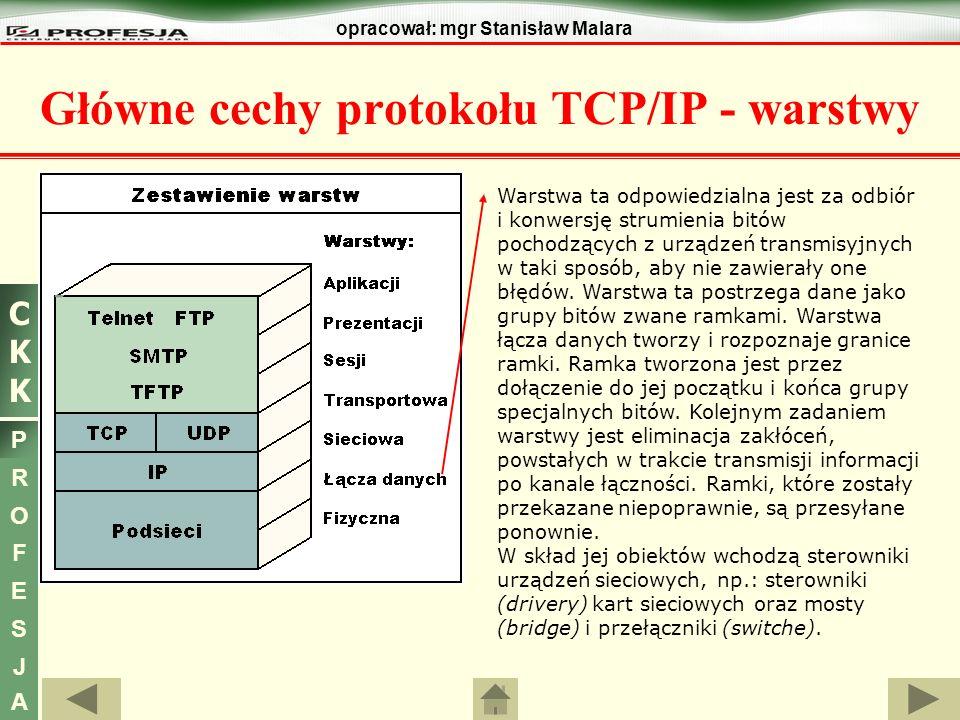 CKKCKK P R O F E S J A opracował: mgr Stanisław Malara Główne cechy protokołu TCP/IP Pole CZAS ŻYCIA (TTL - Time To Live) - [8-bitowe] - określa jak długo w sekundach pakiet może być przesyłany do kolejnych węzłów sieci.