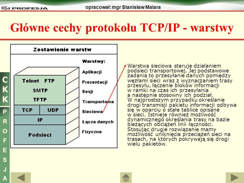 CKKCKK P R O F E S J A opracował: mgr Stanisław Malara Główne cechy protokołu TCP/IP Pole OPCJE IP nie występuje w każdym datagramie - pierwotnym zastosowaniem OPCJI było ułatwienie testowania i usuwania błędów.