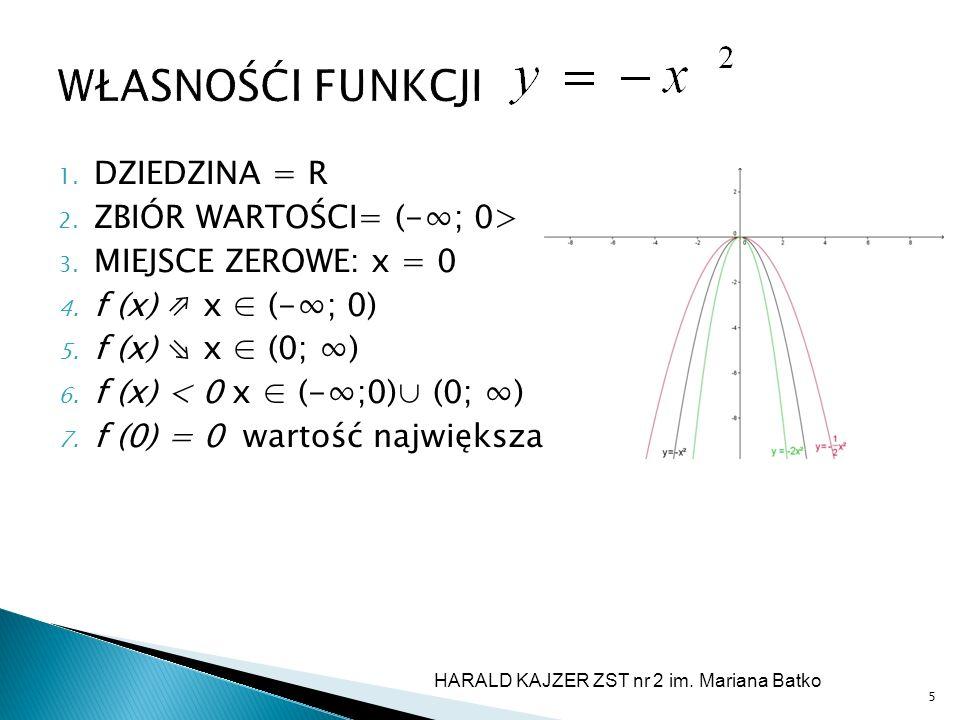 WŁASNOŚĆI FUNKCJI 1. DZIEDZINA = R 2. ZBIÓR WARTOŚCI= (-; 0> 3. MIEJSCE ZEROWE: x = 0 4. f (x) x (-; 0) 5. f (x) x (0; ) 6. f (x) < 0 x (-;0) (0; ) 7.