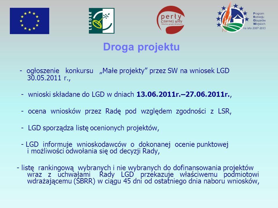 Droga projektu - ogłoszenie konkursu Małe projekty przez SW na wniosek LGD 30.05.2011 r., - wnioski składane do LGD w dniach 13.06.2011r.–27.06.2011r., - ocena wniosków przez Radę pod względem zgodności z LSR, - LGD sporządza listę ocenionych projektów, - LGD informuje wnioskodawców o dokonanej ocenie punktowej i możliwości odwołania się od decyzji Rady, - listę rankingową wybranych i nie wybranych do dofinansowania projektów wraz z uchwałami Rady LGD przekazuje właściwemu podmiotowi wdrażającemu (ŚBRR) w ciągu 45 dni od ostatniego dnia naboru wniosków,