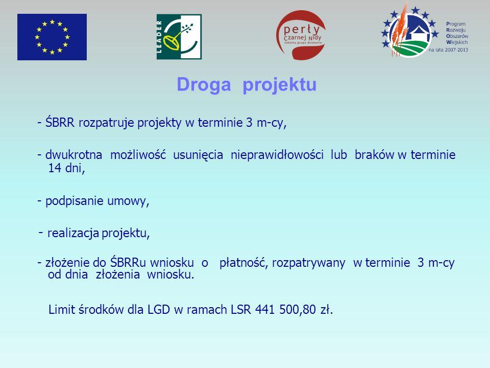 Droga projektu - ŚBRR rozpatruje projekty w terminie 3 m-cy, - dwukrotna możliwość usunięcia nieprawidłowości lub braków w terminie 14 dni, - podpisanie umowy, - realizacja projektu, - złożenie do ŚBRRu wniosku o płatność, rozpatrywany w terminie 3 m-cy od dnia złożenia wniosku.