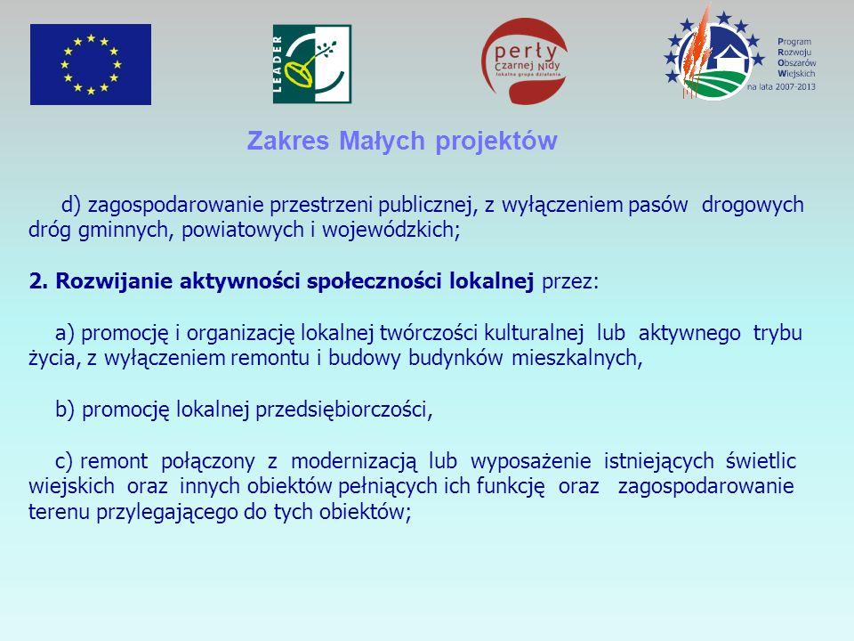 Zakres Małych projektów d) zagospodarowanie przestrzeni publicznej, z wyłączeniem pasów drogowych dróg gminnych, powiatowych i wojewódzkich; 2.