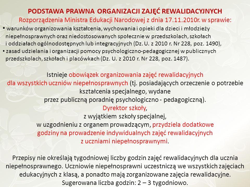 PODSTAWA PRAWNA ORGANIZACJI ZAJĘĆ REWALIDACYJNYCH Rozporządzenia Ministra Edukacji Narodowej z dnia 17.11.2010r. w sprawie: warunków organizowania ksz
