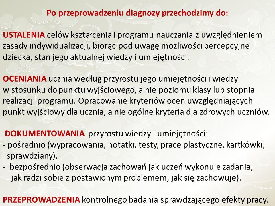 Po przeprowadzeniu diagnozy przechodzimy do: USTALENIA celów kształcenia i programu nauczania z uwzględnieniem zasady indywidualizacji, biorąc pod uwa