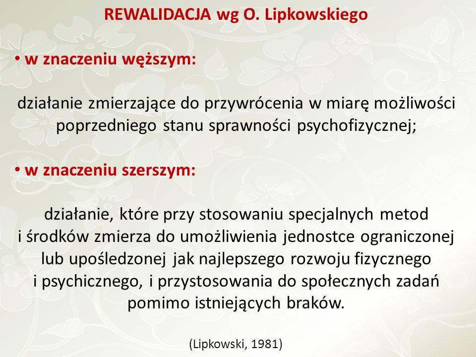 REWALIDACJA wg O. Lipkowskiego w znaczeniu węższym: działanie zmierzające do przywrócenia w miarę możliwości poprzedniego stanu sprawności psychofizyc