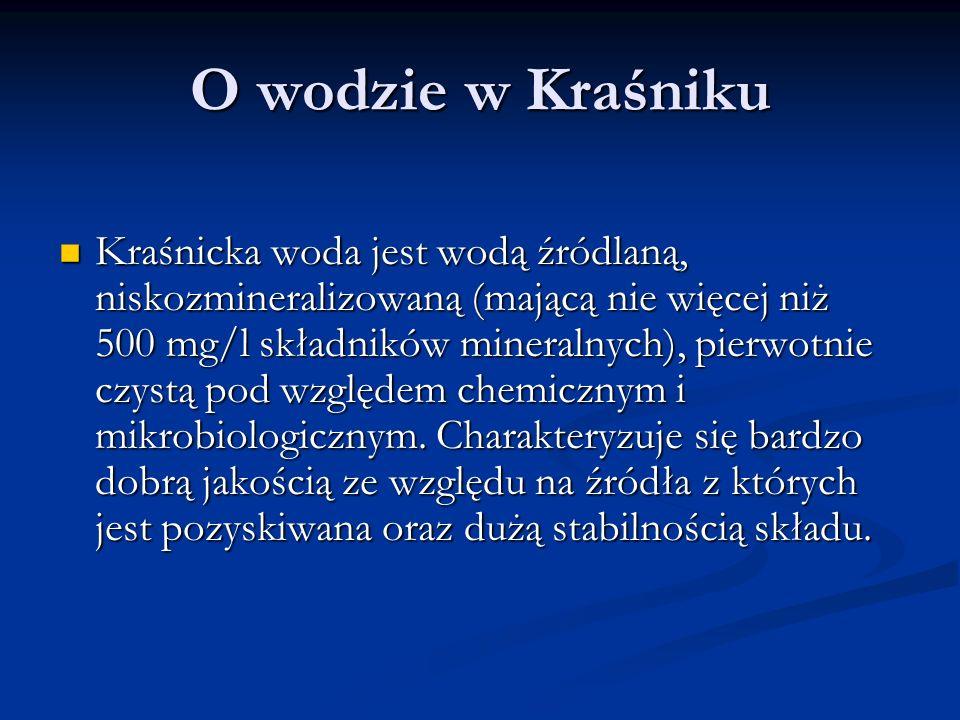 O wodzie w Kraśniku Kraśnicka woda jest wodą źródlaną, niskozmineralizowaną (mającą nie więcej niż 500 mg/l składników mineralnych), pierwotnie czystą pod względem chemicznym i mikrobiologicznym.