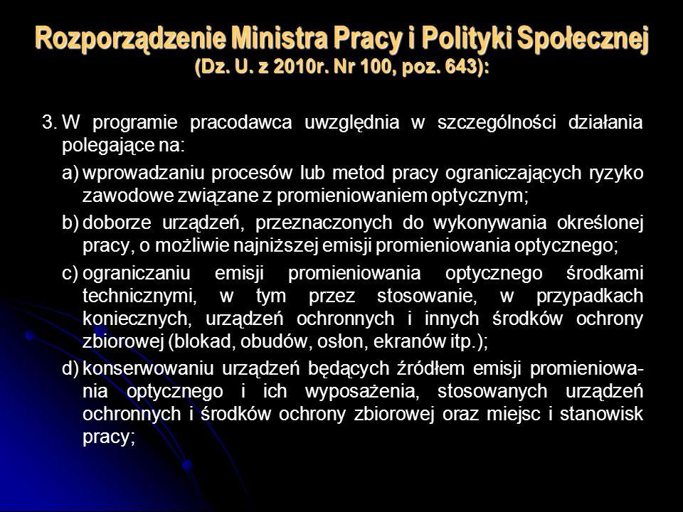 Rozporządzenie Ministra Pracy i Polityki Społecznej (Dz. U. z 2010r. Nr 100, poz. 643): 3.W programie pracodawca uwzględnia w szczególności działania