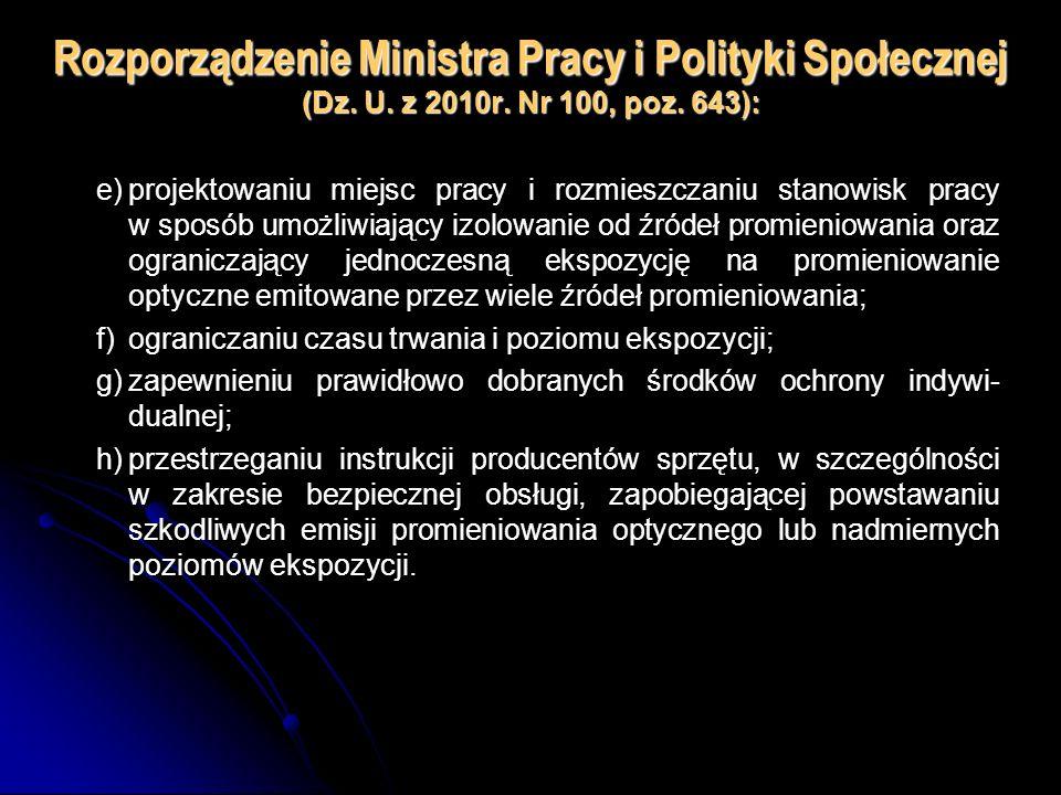 Rozporządzenie Ministra Pracy i Polityki Społecznej (Dz. U. z 2010r. Nr 100, poz. 643): e)projektowaniu miejsc pracy i rozmieszczaniu stanowisk pracy