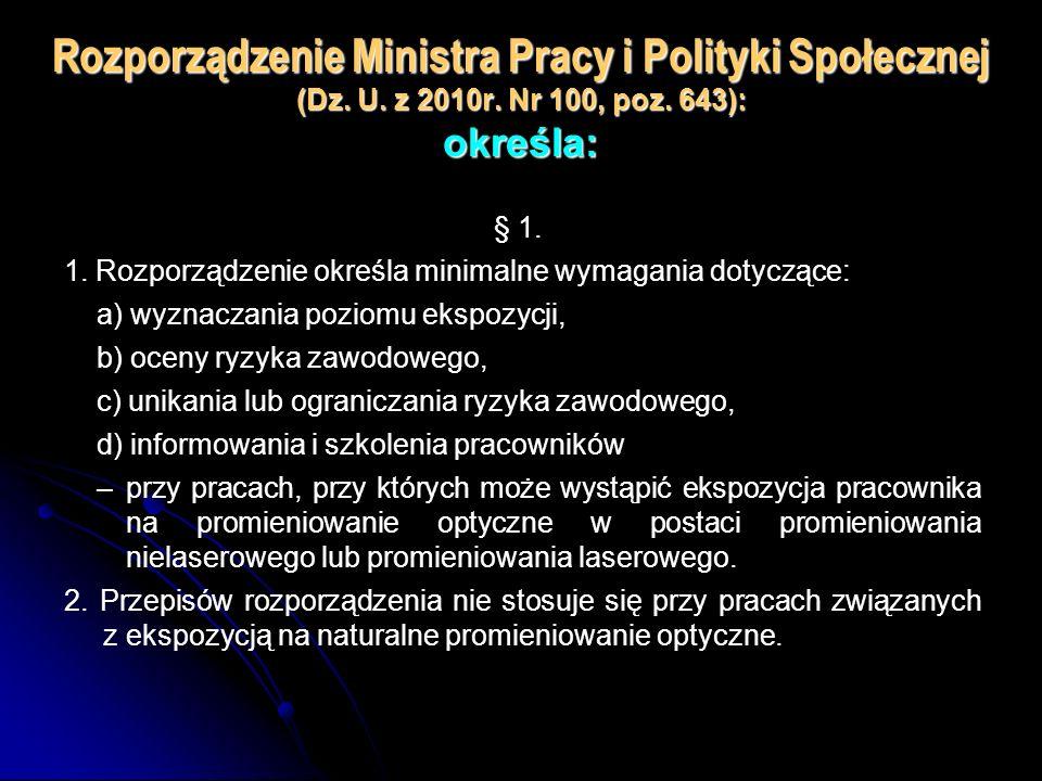 Rozporządzenie Ministra Pracy i Polityki Społecznej (Dz. U. z 2010r. Nr 100, poz. 643): określa: § 1. 1. Rozporządzenie określa minimalne wymagania do