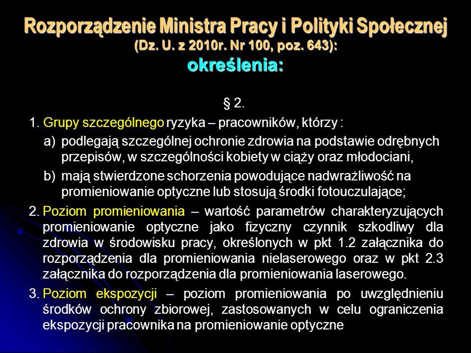 Rozporządzenie Ministra Pracy i Polityki Społecznej (Dz. U. z 2010r. Nr 100, poz. 643): określenia: § 2.. Grupy szczególnego ryzyka – 1. Grupy szczegó
