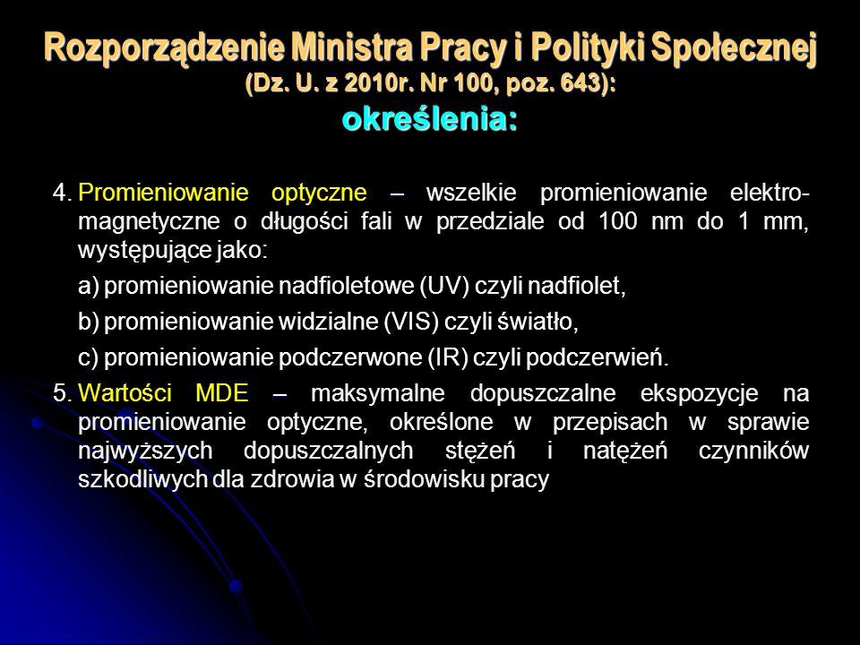 Rozporządzenie Ministra Pracy i Polityki Społecznej (Dz. U. z 2010r. Nr 100, poz. 643): określenia: – 4.Promieniowanie optyczne – wszelkie promieniowa