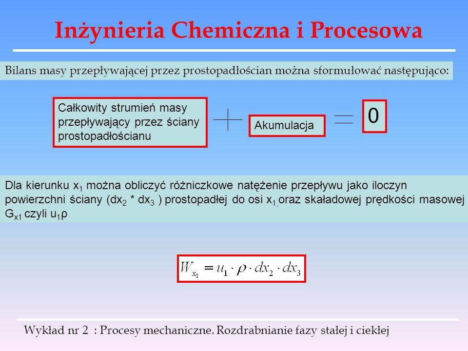 Inżynieria Chemiczna i Procesowa Wykład nr 2 : Procesy mechaniczne. Rozdrabnianie fazy stałej i ciekłej Bilans masy przepływającej przez prostopadłośc