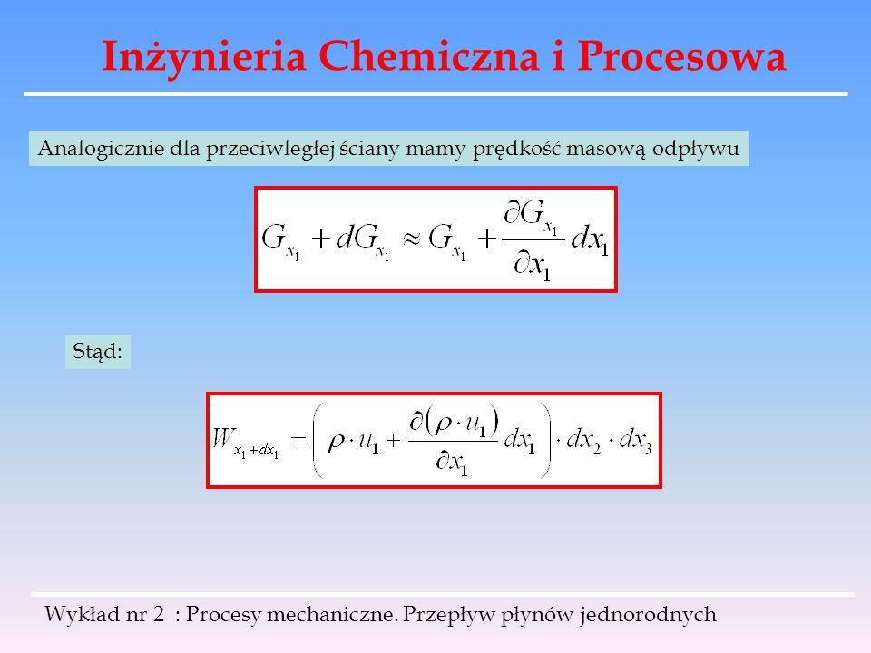 Inżynieria Chemiczna i Procesowa Wykład nr 2 : Procesy mechaniczne. Przepływ płynów jednorodnych Analogicznie dla przeciwległej ściany mamy prędkość m
