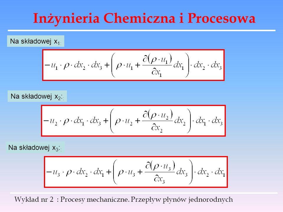 Inżynieria Chemiczna i Procesowa Wykład nr 2 : Procesy mechaniczne. Przepływ płynów jednorodnych Na składowej x 1: Na składowej x 2 : : Na składowej x