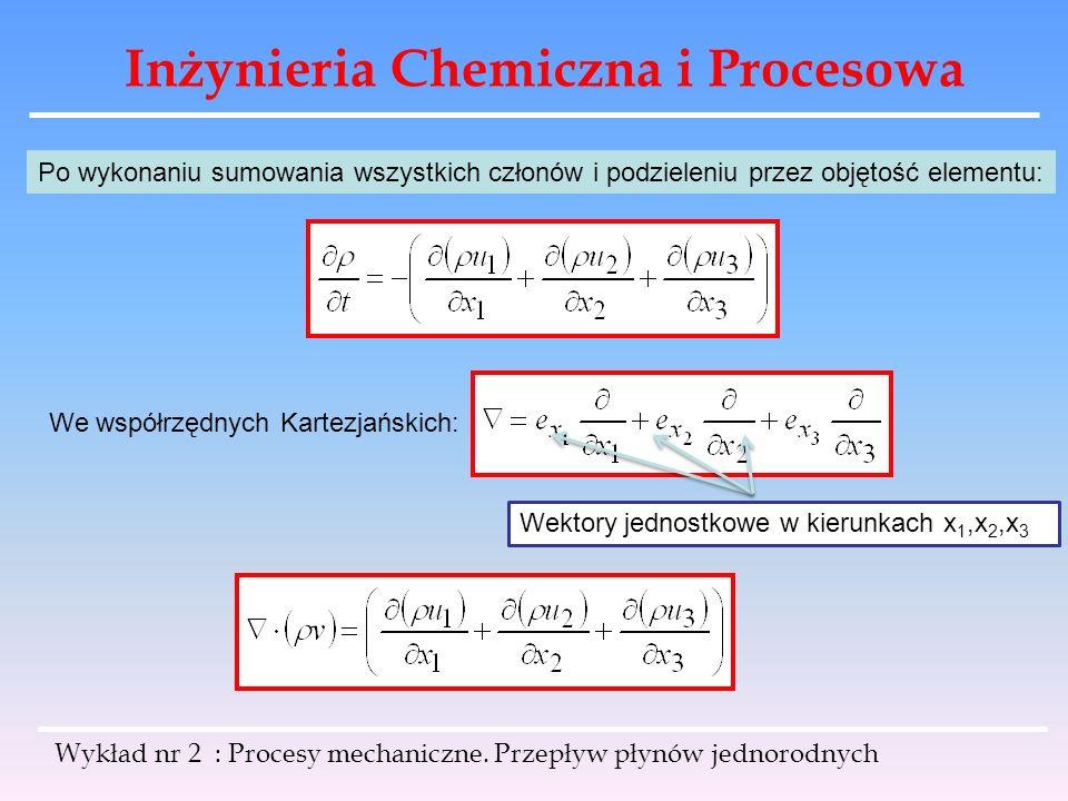 Inżynieria Chemiczna i Procesowa Wykład nr 2 : Procesy mechaniczne. Przepływ płynów jednorodnych Po wykonaniu sumowania wszystkich członów i podzielen