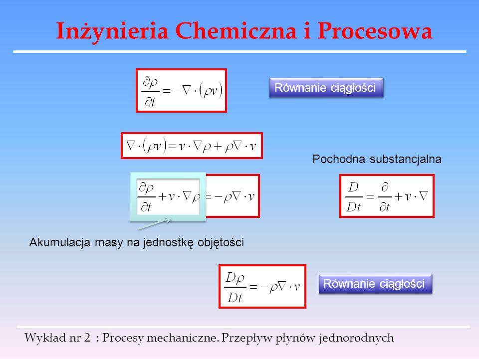 Inżynieria Chemiczna i Procesowa Wykład nr 2 : Procesy mechaniczne. Przepływ płynów jednorodnych Równanie ciągłości Akumulacja masy na jednostkę objęt