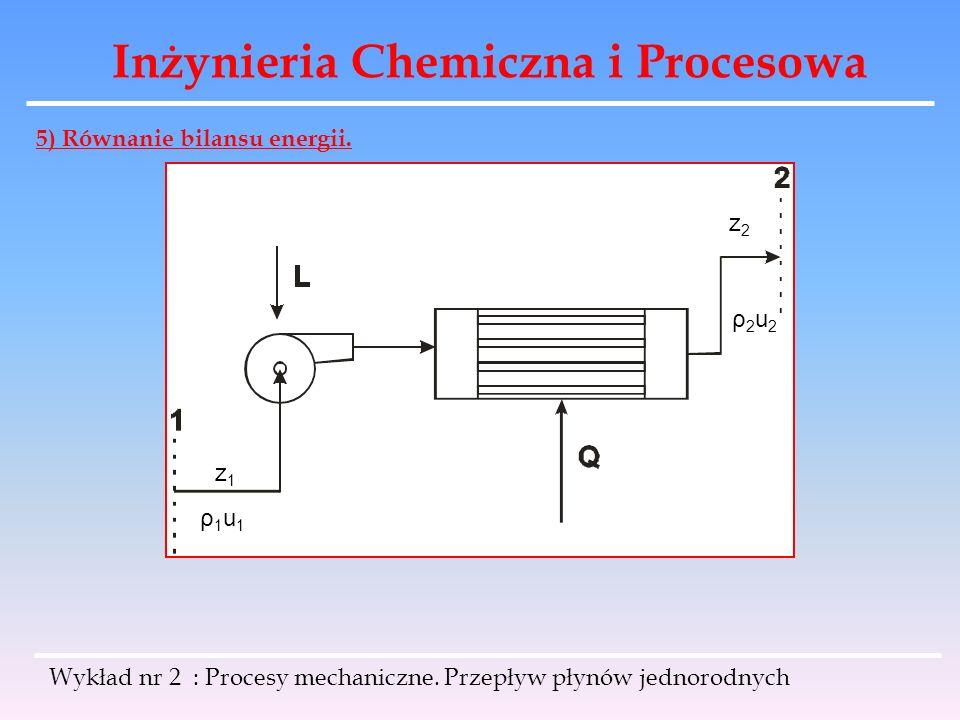 Inżynieria Chemiczna i Procesowa Wykład nr 2 : Procesy mechaniczne. Przepływ płynów jednorodnych 5) Równanie bilansu energii. z1z1 ρ1u1ρ1u1 z2z2 ρ2u2ρ