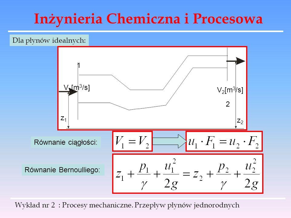 Inżynieria Chemiczna i Procesowa Wykład nr 2 : Procesy mechaniczne. Przepływ płynów jednorodnych V 1 [m 3 /s] V 2 [m 3 /s] 1 2 z1z1 z2z2 Dla płynów id