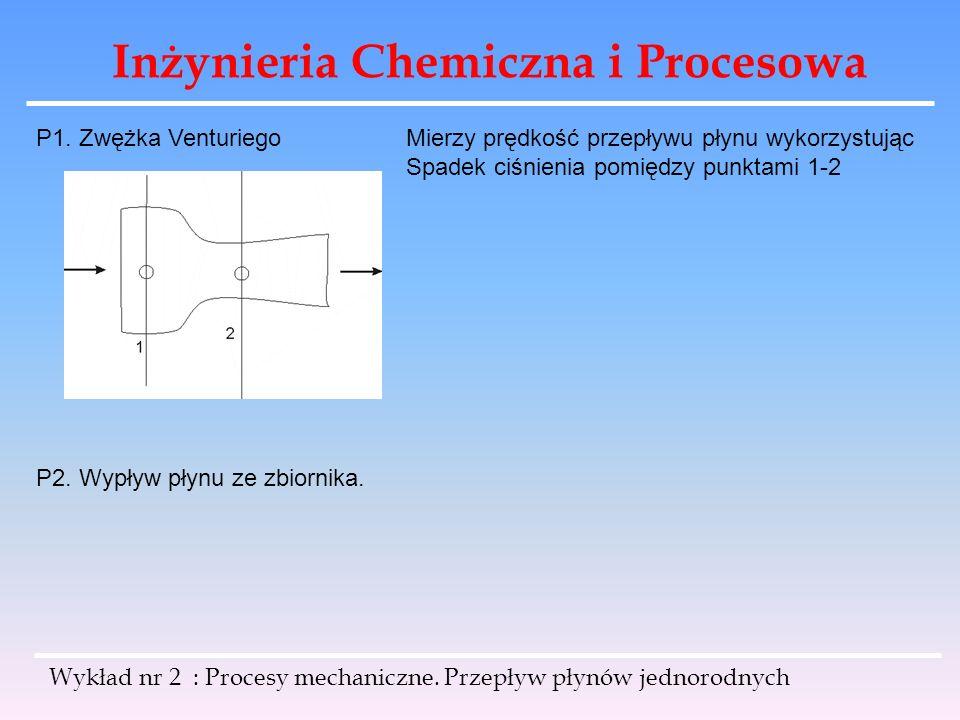 Inżynieria Chemiczna i Procesowa Wykład nr 2 : Procesy mechaniczne. Przepływ płynów jednorodnych P1. Zwężka VenturiegoMierzy prędkość przepływu płynu