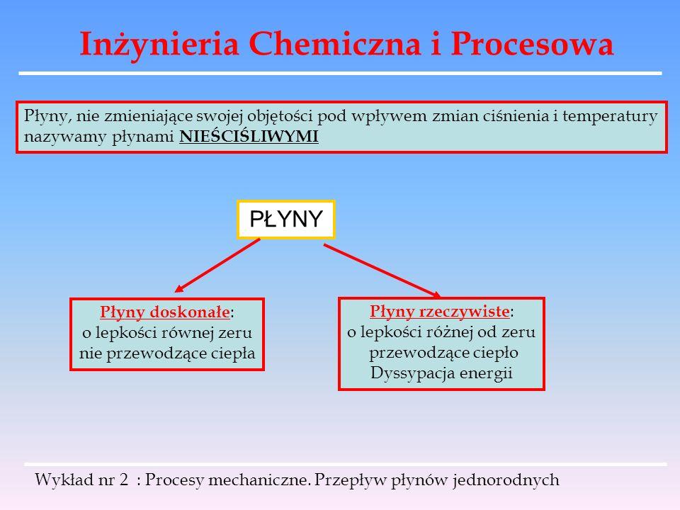 Inżynieria Chemiczna i Procesowa Wykład nr 2 : Procesy mechaniczne. Przepływ płynów jednorodnych Płyny, nie zmieniające swojej objętości pod wpływem z