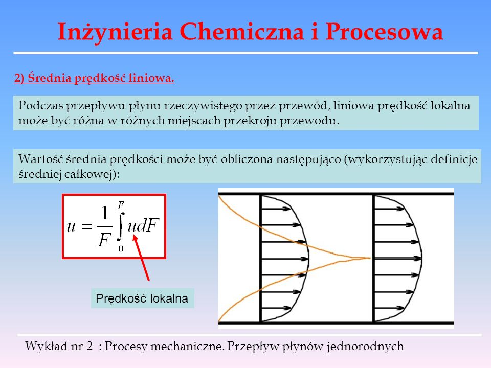 Inżynieria Chemiczna i Procesowa Wykład nr 2 : Procesy mechaniczne. Przepływ płynów jednorodnych 2) Średnia prędkość liniowa. Podczas przepływu płynu