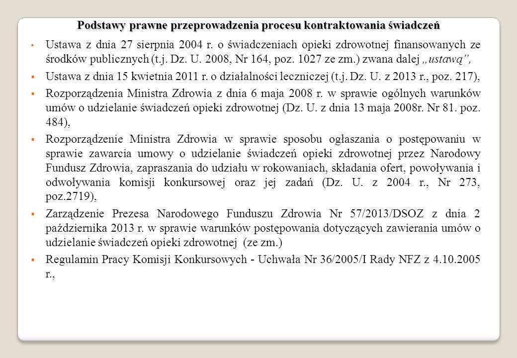 Podstawy prawne przeprowadzenia procesu kontraktowania świadczeń Ustawa z dnia 27 sierpnia 2004 r. o świadczeniach opieki zdrowotnej finansowanych ze