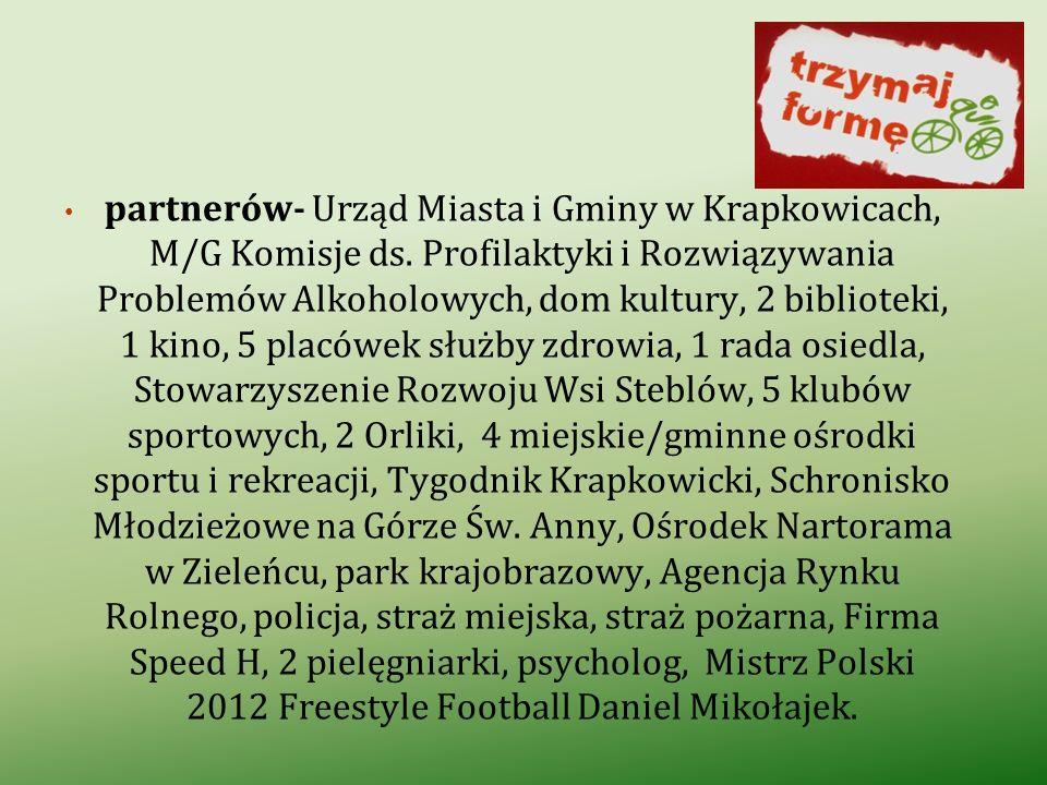 partnerów- Urząd Miasta i Gminy w Krapkowicach, M/G Komisje ds. Profilaktyki i Rozwiązywania Problemów Alkoholowych, dom kultury, 2 biblioteki, 1 kino