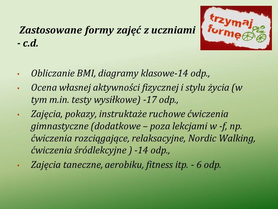 Zastosowane formy zajęć z uczniami - c.d. Obliczanie BMI, diagramy klasowe-14 odp., Ocena własnej aktywności fizycznej i stylu życia (w tym m.in. test