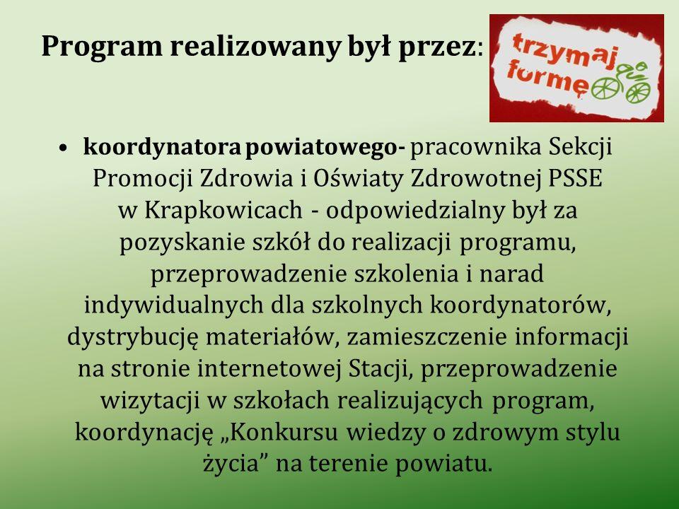 Program realizowany był przez: koordynatora powiatowego- pracownika Sekcji Promocji Zdrowia i Oświaty Zdrowotnej PSSE w Krapkowicach - odpowiedzialny