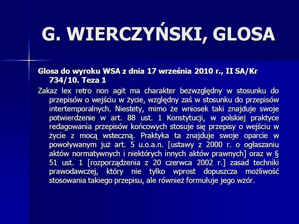 G.WIERCZYŃSKI, GLOSA Glosa do wyroku WSA z dnia 17 września 2010 r., II SA/Kr 734/10.