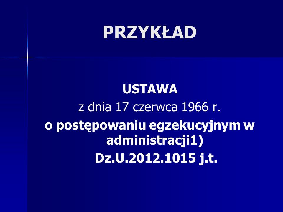 PRZYKŁAD USTAWA z dnia 17 czerwca 1966 r. o postępowaniu egzekucyjnym w administracji1) Dz.U.2012.1015 j.t.
