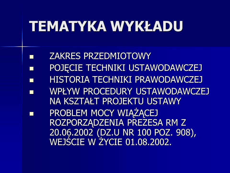 literatura G.Wierczyński, Redagowanie i ogłaszanie aktów normatywnych.