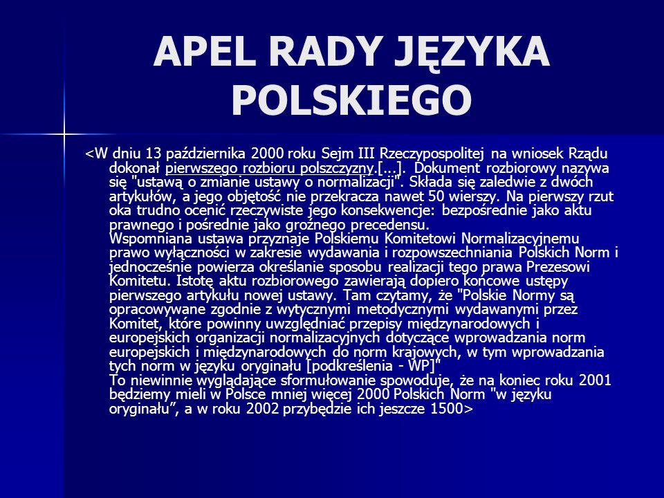 APEL RADY JĘZYKA POLSKIEGO