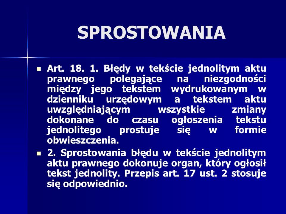 SPROSTOWANIA Art.18. 1.