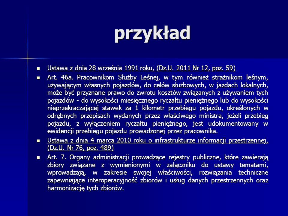 przykład Ustawa z dnia 28 września 1991 roku, (Dz.U. 2011 Nr 12, poz. 59) Ustawa z dnia 28 września 1991 roku, (Dz.U. 2011 Nr 12, poz. 59)(Dz.U. 2011