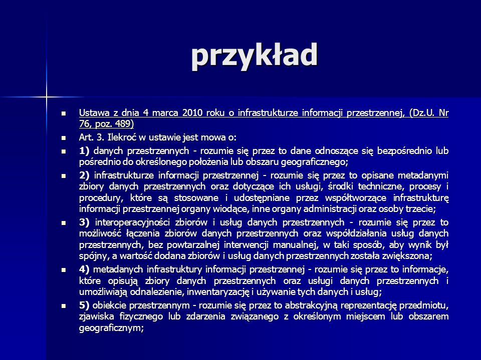 przykład Ustawa z dnia 4 marca 2010 roku o infrastrukturze informacji przestrzennej, (Dz.U. Nr 76, poz. 489) Ustawa z dnia 4 marca 2010 roku o infrast