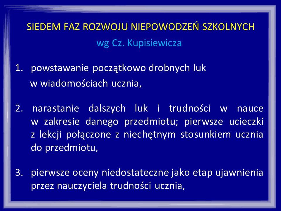 SIEDEM FAZ ROZWOJU NIEPOWODZEŃ SZKOLNYCH wg Cz. Kupisiewicza 1.powstawanie początkowo drobnych luk w wiadomościach ucznia, 2. narastanie dalszych luk