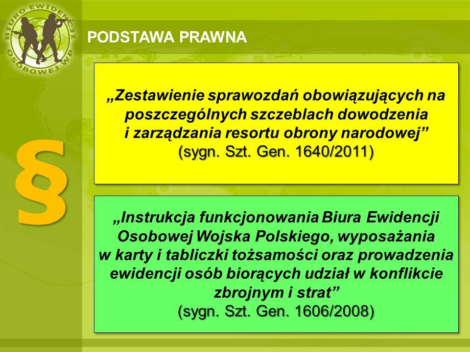 PODSTAWA PRAWNA § § (sygn. Szt. Gen. 1606/2008) Instrukcja funkcjonowania Biura Ewidencji Osobowej Wojska Polskiego, wyposażania w karty i tabliczki t