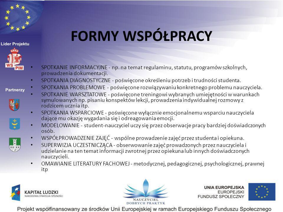 FORMY WSPÓŁPRACY SPOTKANIE INFORMACYJNE - np. na temat regulaminu, statutu, programów szkolnych, prowadzenia dokumentacji. SPOTKANIA DIAGNOSTYCZNE - p