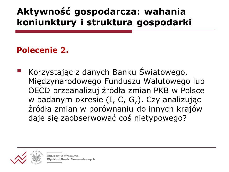 Aktywność gospodarcza: wahania koniunktury i struktura gospodarki Polecenie 2.
