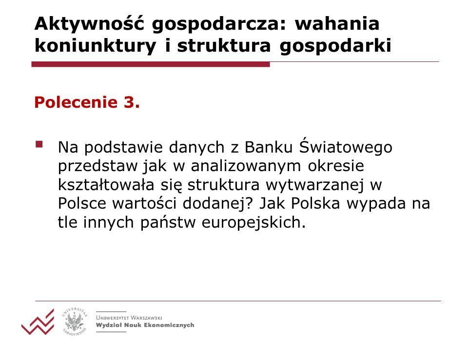 Aktywność gospodarcza: wahania koniunktury i struktura gospodarki Polecenie 3.