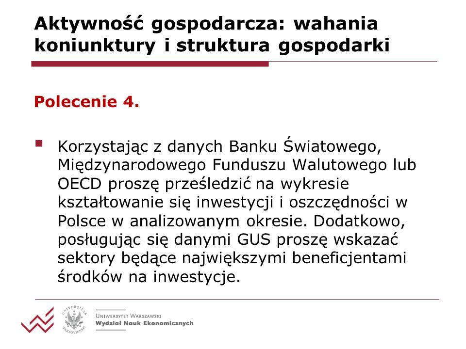 Aktywność gospodarcza: wahania koniunktury i struktura gospodarki Polecenie 4.